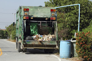 Garbage in the garbage truck