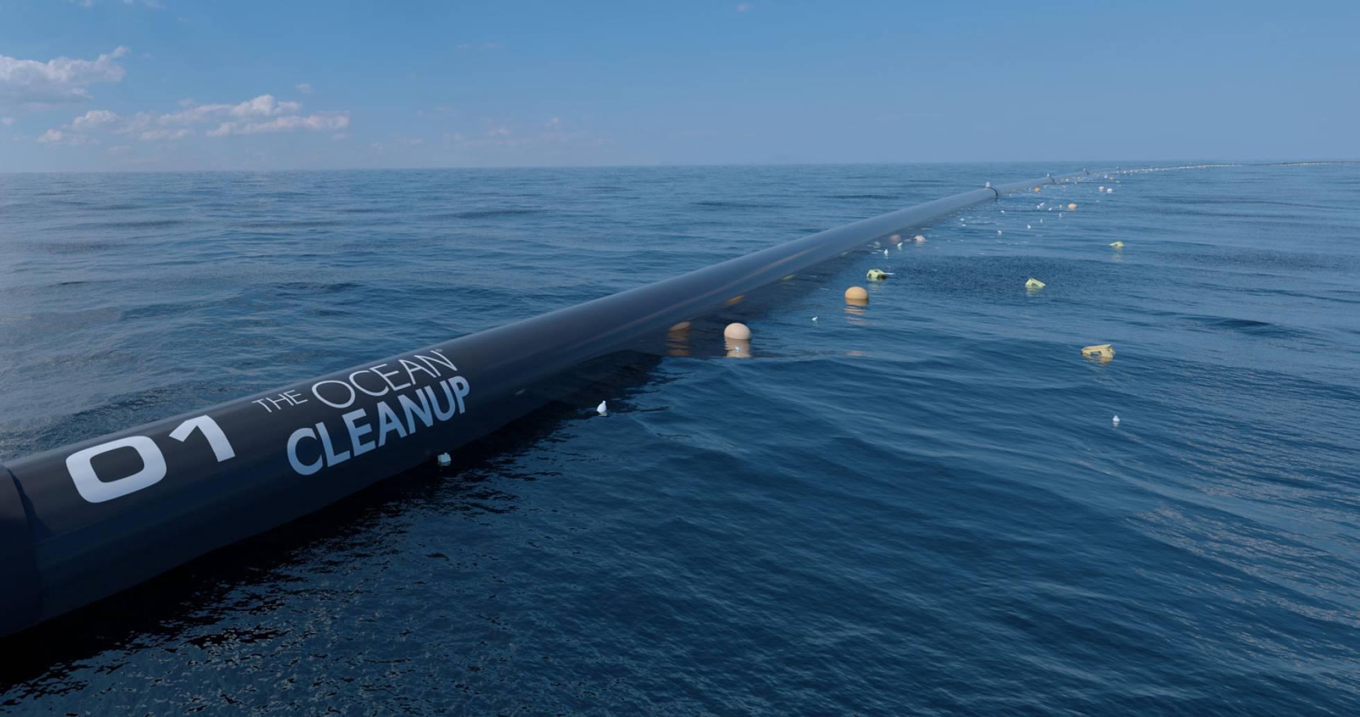 O sistema de limpeza da The Ocean Cleanup